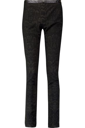 ROBERTO CAVALLI Printed brushed stretch-cotton skinny pants