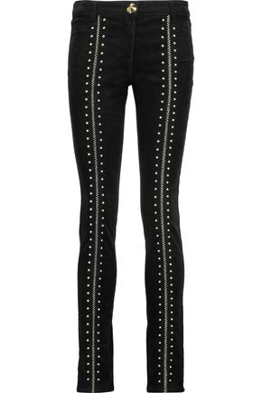 ROBERTO CAVALLI Lace-up studded corduroy skinny pants