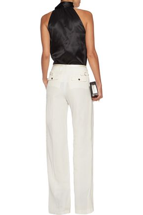 ROBERTO CAVALLI Flax and silk-blend wide-leg pants