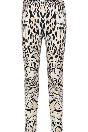ROBERTO CAVALLI Leopard-print cotton-blend slim-leg pants