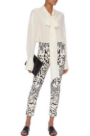 ROBERTO CAVALLI Leopard-print cotton-blend slim-leg pants