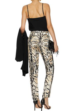 ROBERTO CAVALLI Printed silk-twill tapered pants