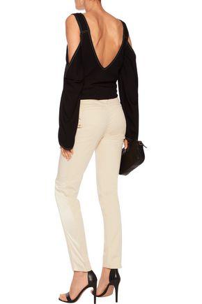 ROBERTO CAVALLI Stretch-satin paneled cotton-blend slim-leg pants