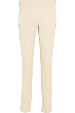 ROBERTO CAVALLI Stretch-satin paneled cotton-blend slim-leg pants