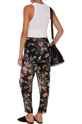 GANNI Ruffle-trimmed printed crepe tapered pants