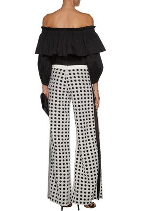 ALEXIS Mateo tulle-paneled lace wide-leg pants
