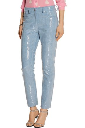 MOSCHINO Sequined mid-rise straight-leg jeans