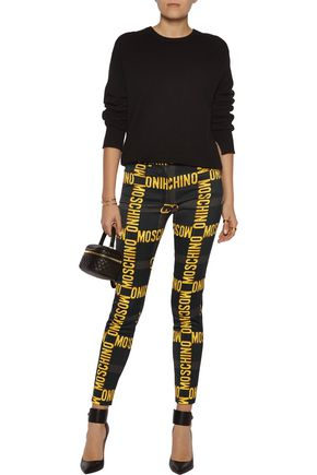 MOSCHINO Printed stretch-satin skinny pants