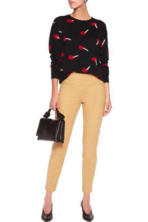 MOSCHINO Cotton-blend slim-leg pants