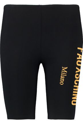 MOSCHINO Cropped embroidered modal-blend jersey leggings