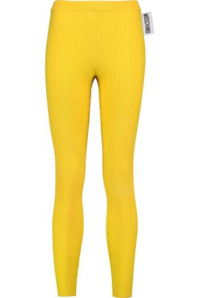 MOSCHINO Ribbed-wool leggings