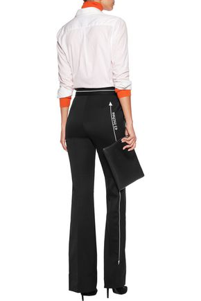 MOSCHINO Embroidered wool-blend straight-leg pants
