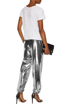 MOSCHINO Sequined chiffon straight-leg pants