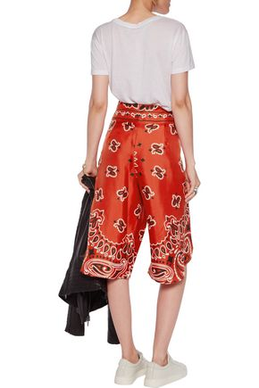 MOSCHINO Cropped printed silk-twill wide-leg pants
