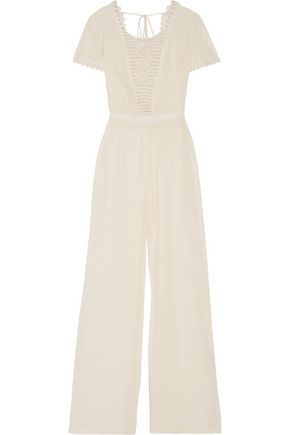 LOVESHACKFANCY Crocheted cotton-voile jumpsuit
