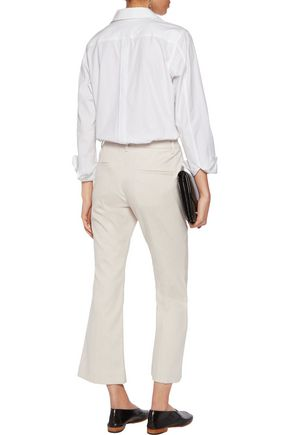 BRUNELLO CUCINELLI Metallic cotton-blend bootcut pants