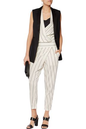 BRUNELLO CUCINELLI Striped silk-blend jumpsuit
