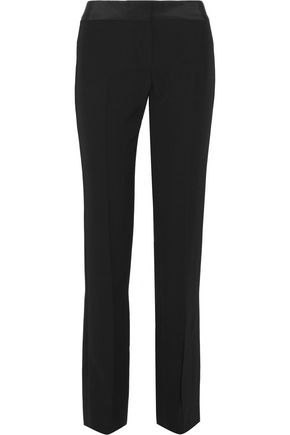 MAISON MARGIELA Washed silk-trimmed crepe straight-leg pants