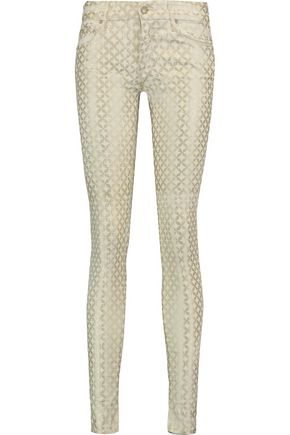 MOTHER The Looker printed cotton-blend twill skinny pants