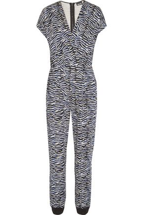JUST CAVALLI Wrap-effect printed stretch-knit jumpsuit