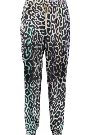 JUST CAVALLI Leopard-print silk-satin track pants