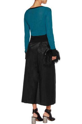 MM6 by MAISON MARGIELA Cotton-blend satin-twill wrap culottes