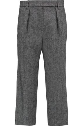 BRUNELLO CUCINELLI Wool-blend tweed wide-leg pants ...