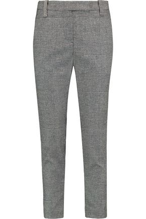 BRUNELLO CUCINELLI Checked wool and cashmere-blend straight-leg pants