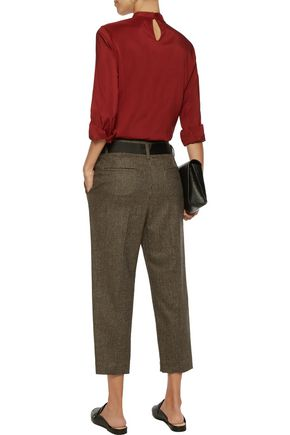BRUNELLO CUCINELLI Belted wool and cashmere-blend tweed pants