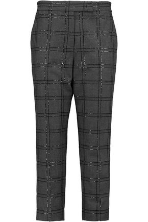 BRUNELLO CUCINELLI Embellished wool-blend tapered pants