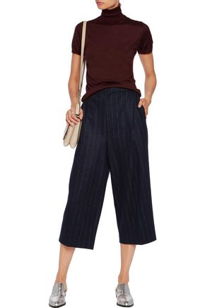 BRUNELLO CUCINELLI Pinstriped wool and cotton-blend culottes