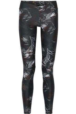 LIVE THE PROCESS V printed stretch-Supplex leggings