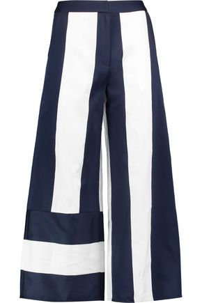 GOEN.J Striped satin and canvas wide-leg pants