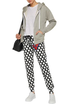 LOVE MOSCHINO Flocked polka-dot cotton-blend fleece track pants