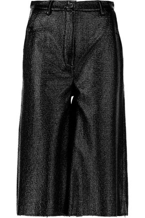 MM6 by MAISON MARGIELA Glossed faux textured-leather culottes