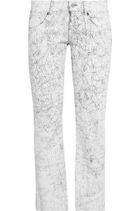 MM6 by MAISON MARGIELA Low-rise cracked-leather straight-leg pants