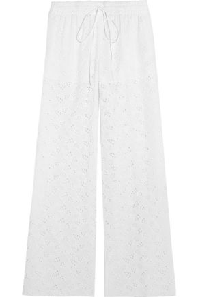 VALENTINO Cotton-blend broderie anglaise wide-leg pants