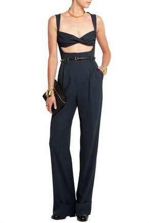 ALESSANDRA RICH Pinstriped silk-blend jumpsuit