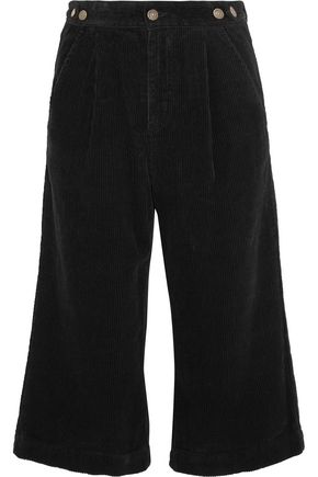 SJYP Cropped cotton-corduroy wide-leg pants