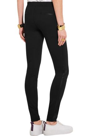DKNY Stretch silk-paneled stretch-jersey leggings
