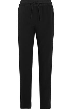 DKNY Satin-trimmed crepe straight leg pants