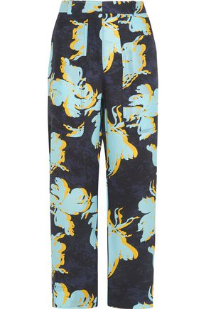 CEDRIC CHARLIER Printed washed-silk wide-leg pants