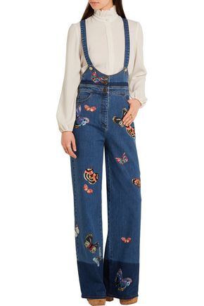 VALENTINO Embroidered stretch-denim jumpsuit