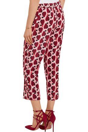 MIU MIU Cropped printed silk crepe de chine straight-leg pants