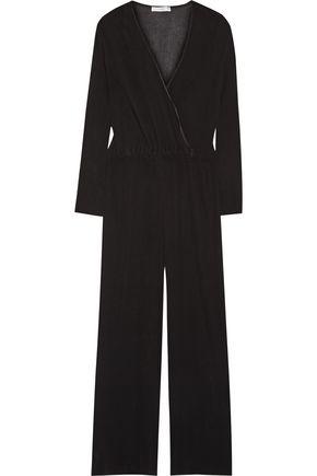 BARBARA CASASOLA Wrap-effect plissé-georgette jumpsuit