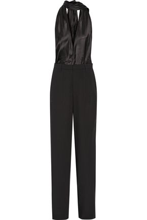 MAISON MARGIELA Faille and wool-blend halterneck jumpsuit