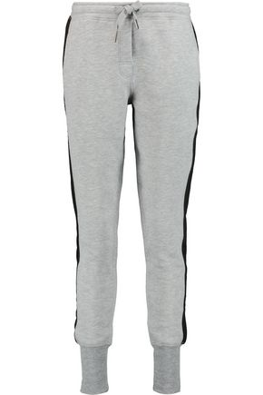ZOE KARSSEN Suede-trimmed knitted track pants