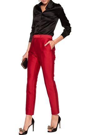 VALENTINO Cotton and silk-blend straight-leg pants