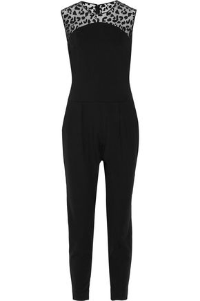 STELLA McCARTNEY Flocked tulle-paneled stretch-jersey jumpsuit