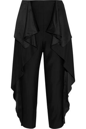 STELLA McCARTNEY Ruffled satin-paneled crepe straight-leg pants